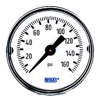 WIKA Type 111.12 Pressure Gauge - 0-160 psi/bar - 1-1/2