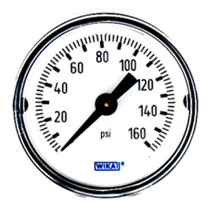 "WIKA Type 111.12 Pressure Gauge - 0-160 psi/bar - 1-1/2"" (40 mm) Diameter - 1/8"" NPT"