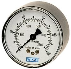 "WIKA Type 611.10 Pressure Gauge 0 - 100 VAC 2 1/2"" - 1/4"" NPT Center Back Mount - 9747465"